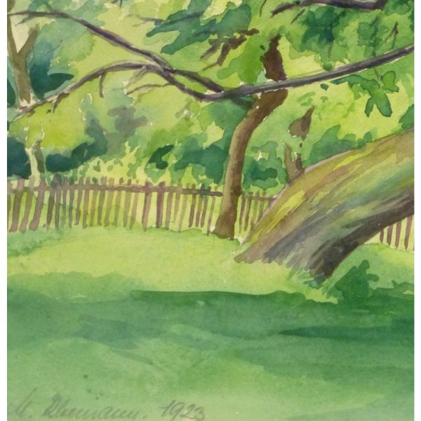 Original Vintage Landscape Watercolor by M. Kleemann Shaded Sanctuary - detail - 9144m