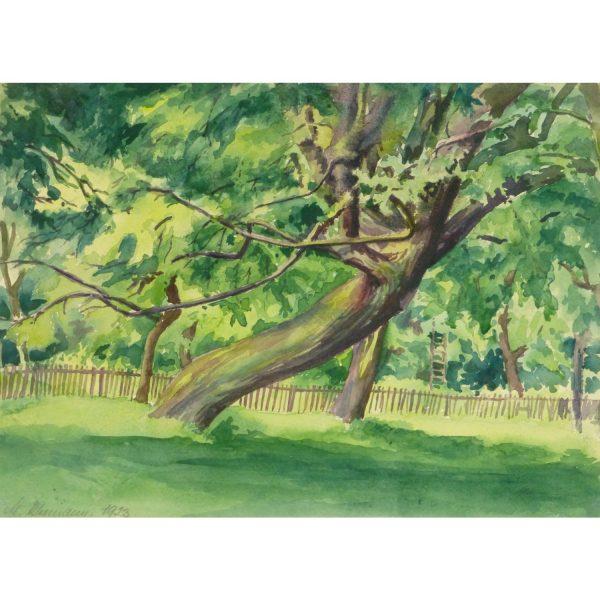 Original Vintage Landscape Watercolor by M. Kleemann Shaded Sanctuary 9144m
