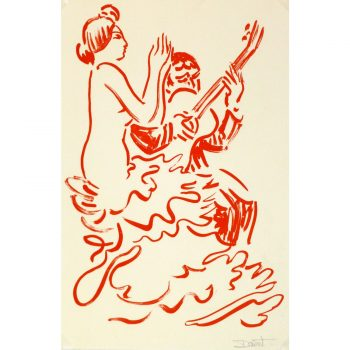 Lithograph of Red Flamenco Dancer 9146m
