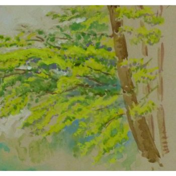 Original Watercolor Bright Green Foliage 9151m
