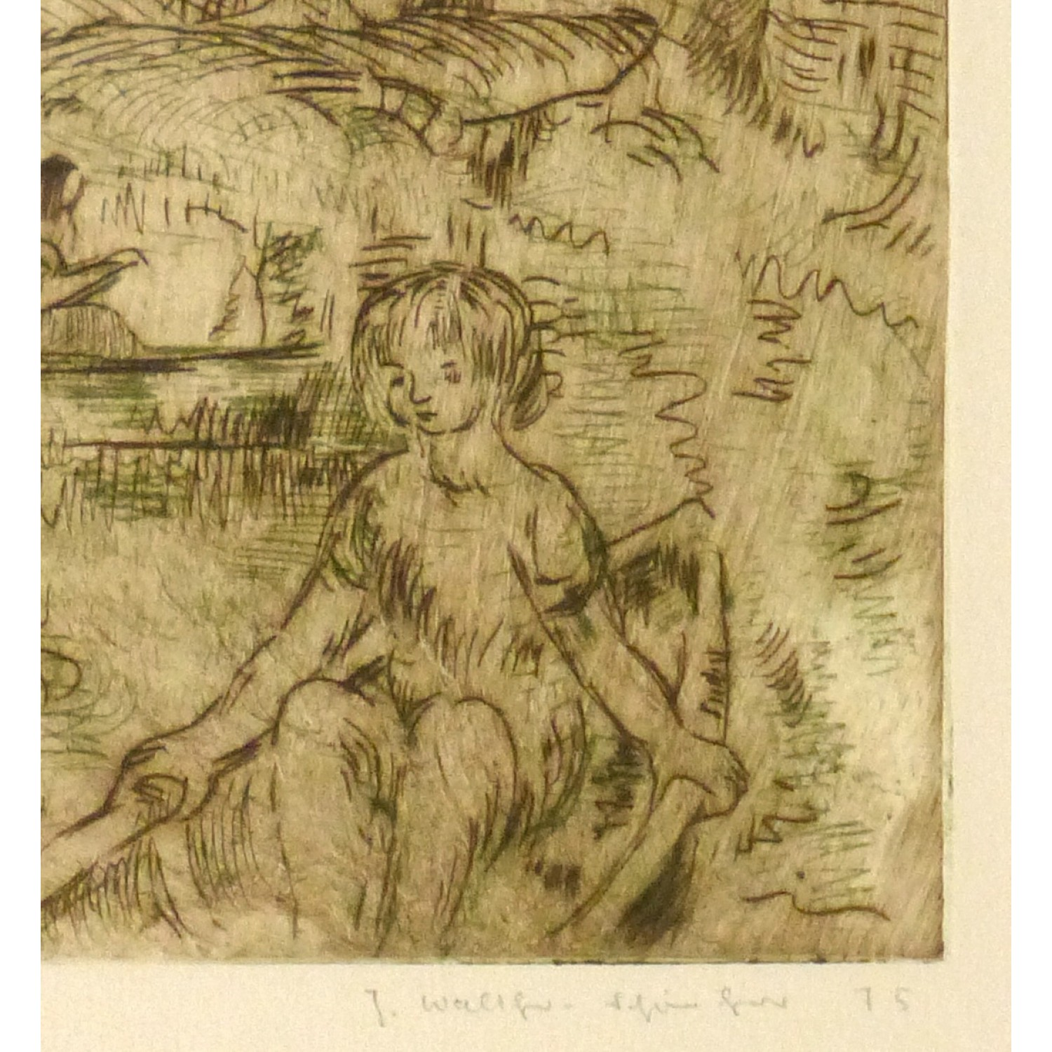 Vintage Aquatint Etching by Julla Walther Golden Pond - signature detail - 9153m