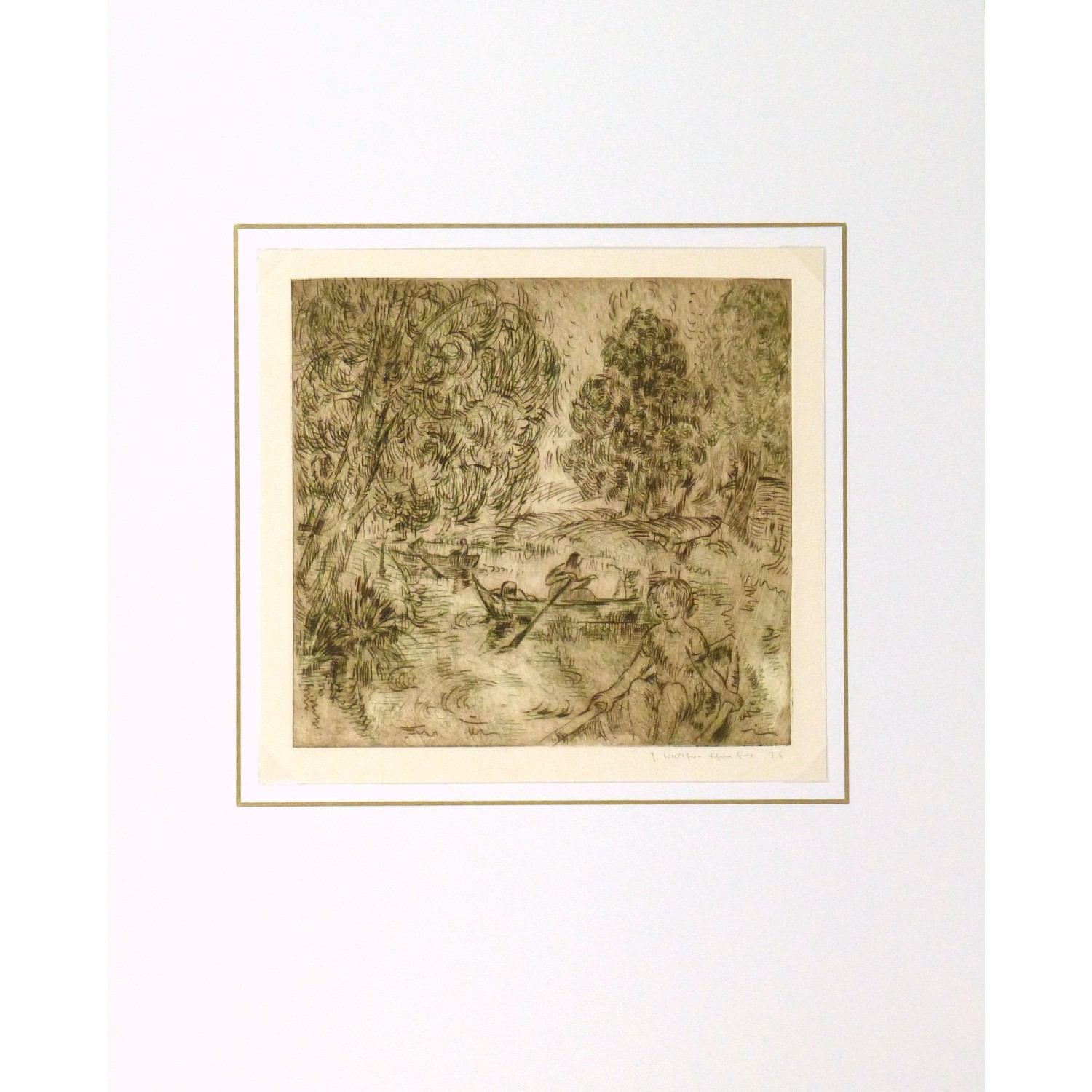 Vintage Aquatint Etching by Julla Walther Golden Pond - matted - 9153m