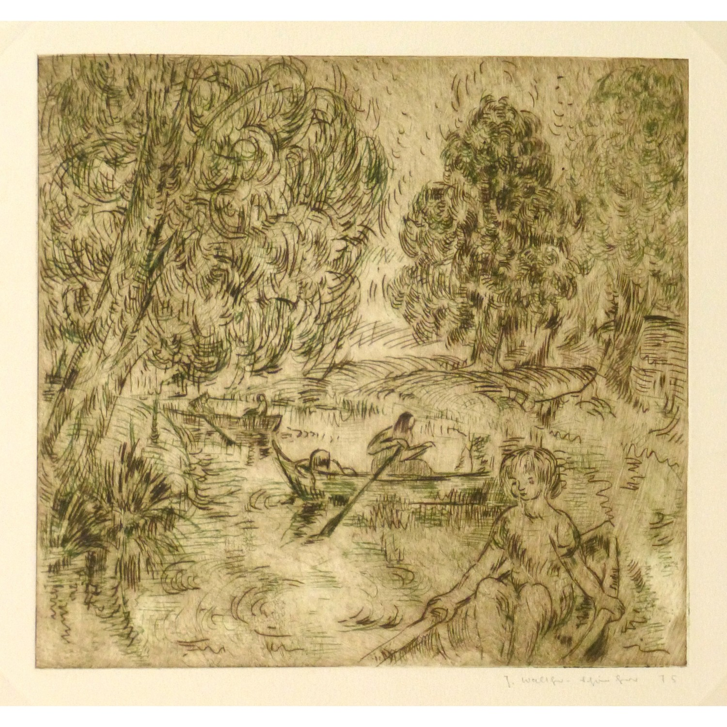 Vintage Aquatint Etching by Julla Walther Golden Pond 9153m