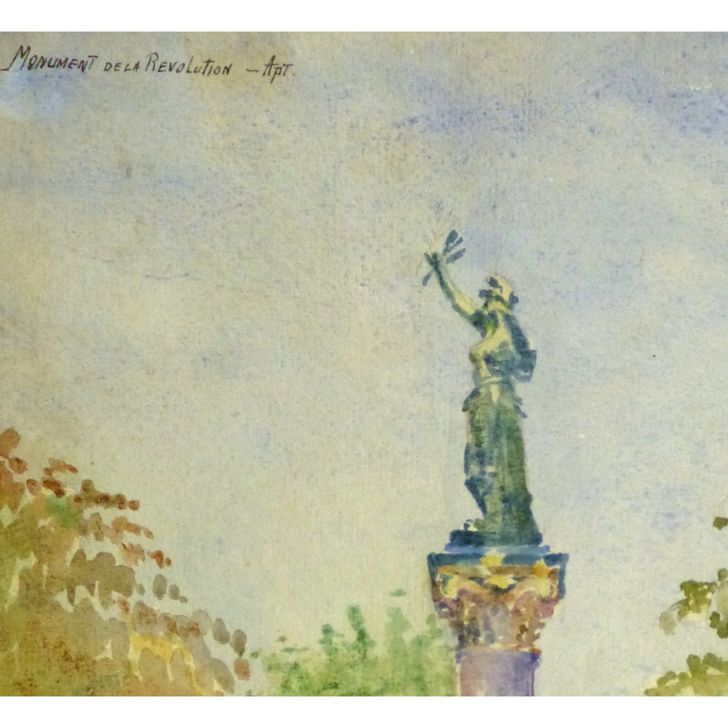 Watercolor Landscape of French Monument in Apt