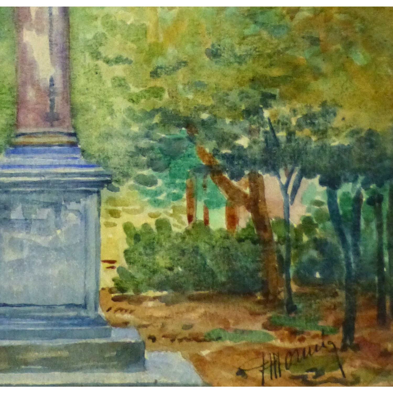 Watercolor Landscape of French Monument in Apt - Signature Detail