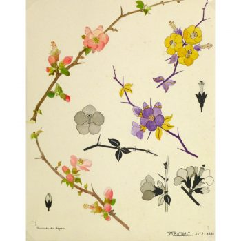 Original Gouache Crabapple Blossom 9159m