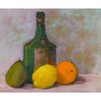 Original Oil on paper Still Life of Bottle and Fruit 9176m