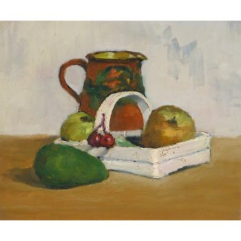 Original Oil on Paper Still Life Fruit Basket by Raymond Bailly 9178m