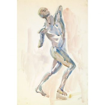 Original Watercolor Male Statue by Raymond Bailly 9179m