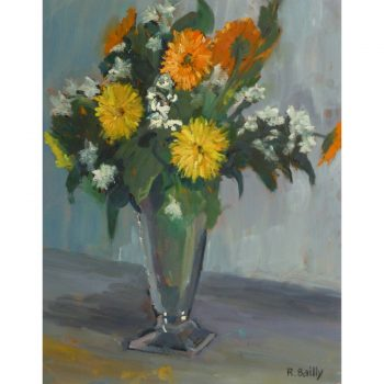 Original Oil on Paper Bright Mums Bouquet by Raymond Bailly 9180m