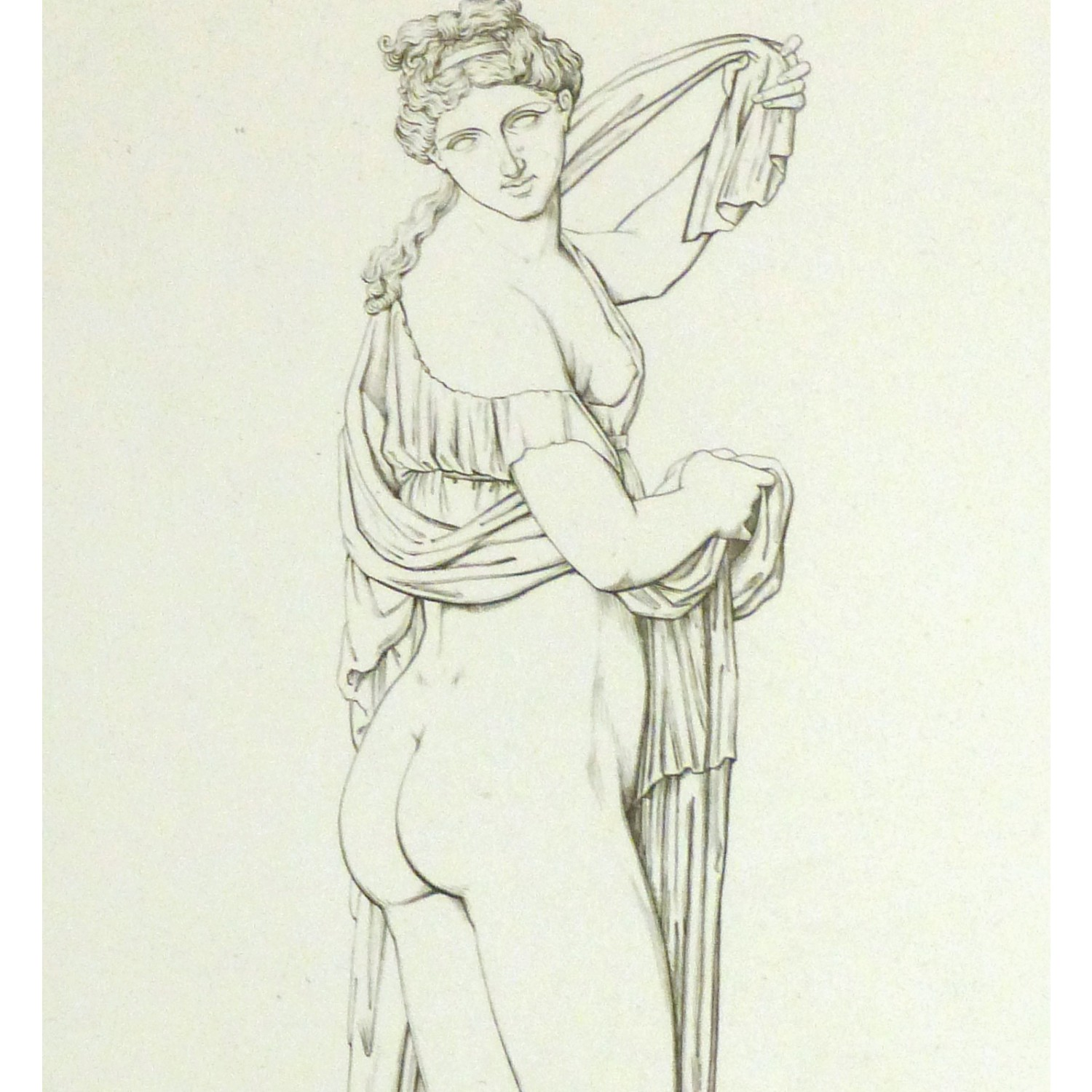 Original Antique Copper Engraving Female Statue -detail - 9183m