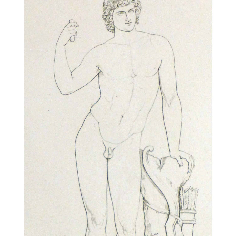 Original Antique Copper Engraving Male Statue - detail - 9184m