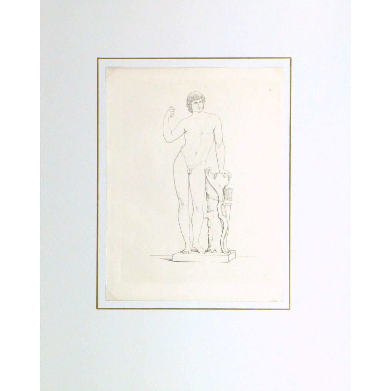 Original Antique Copper Engraving Male Statue - matted - 9184m