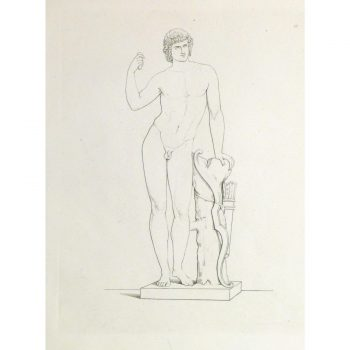 Original Antique Copper Engraving Male Statue - 9184m