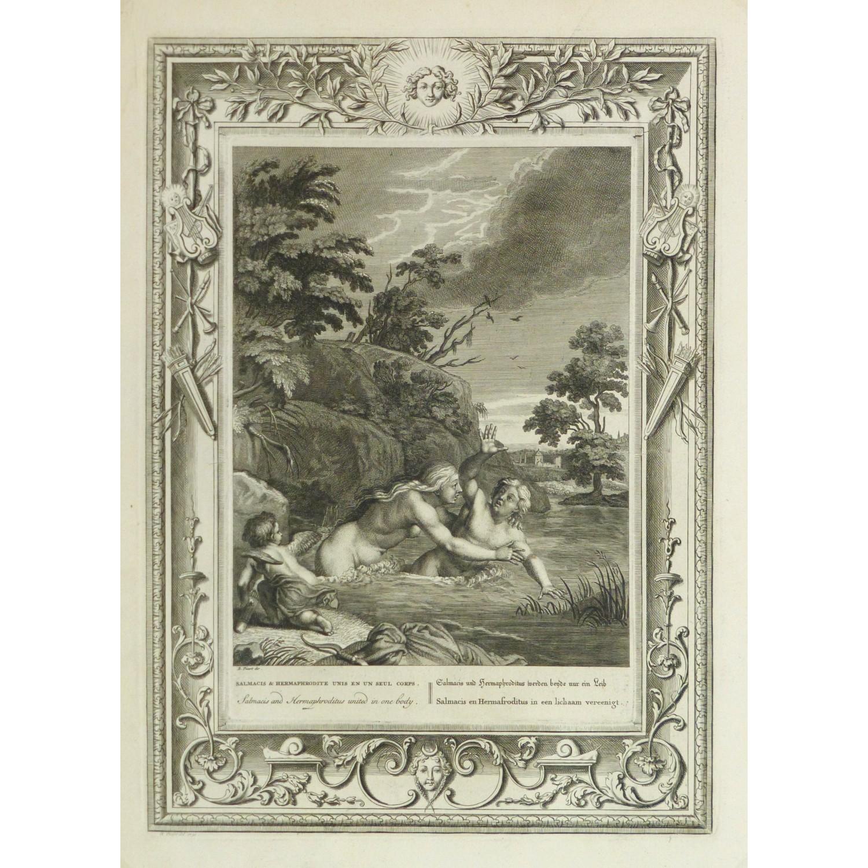 Original Antique Copper Engraving Hermaphrodite and Salmacis 9185m