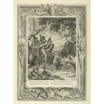 Original Antique Copper Engraving The Golden Fleece 9186m