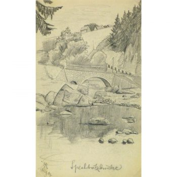 Antique Pencil Drawing Rural Country Bridge - 9187m