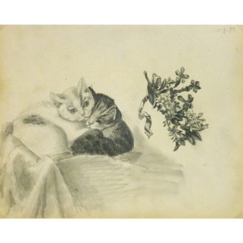 Antique Pencil Drawing Kitten - matted - 9190m