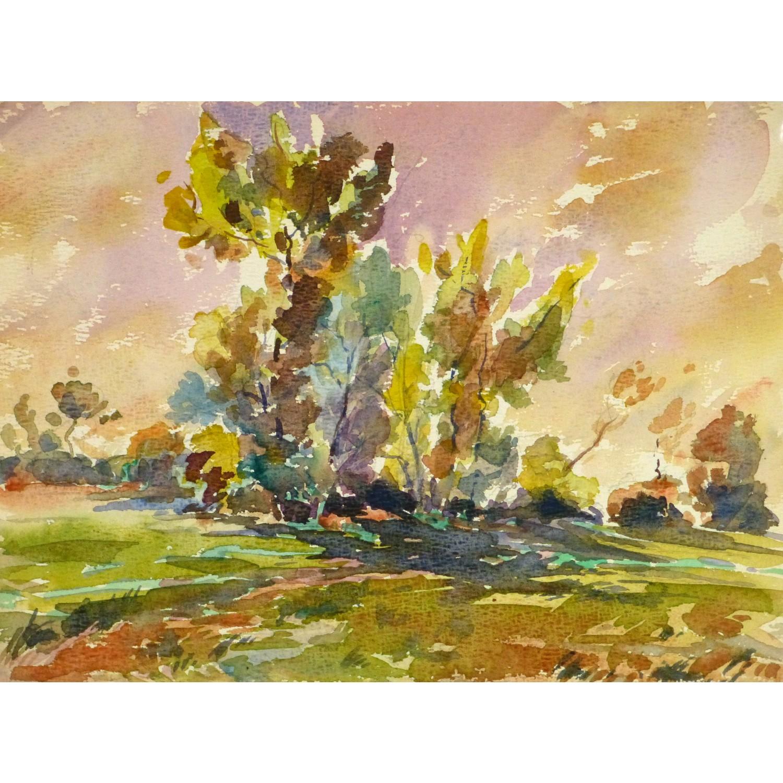 Fall Foliage Landscape Watercolor