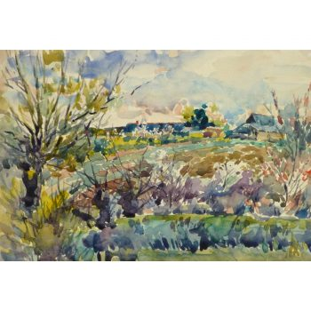 Watercolor Farmstead Landscape 9192m