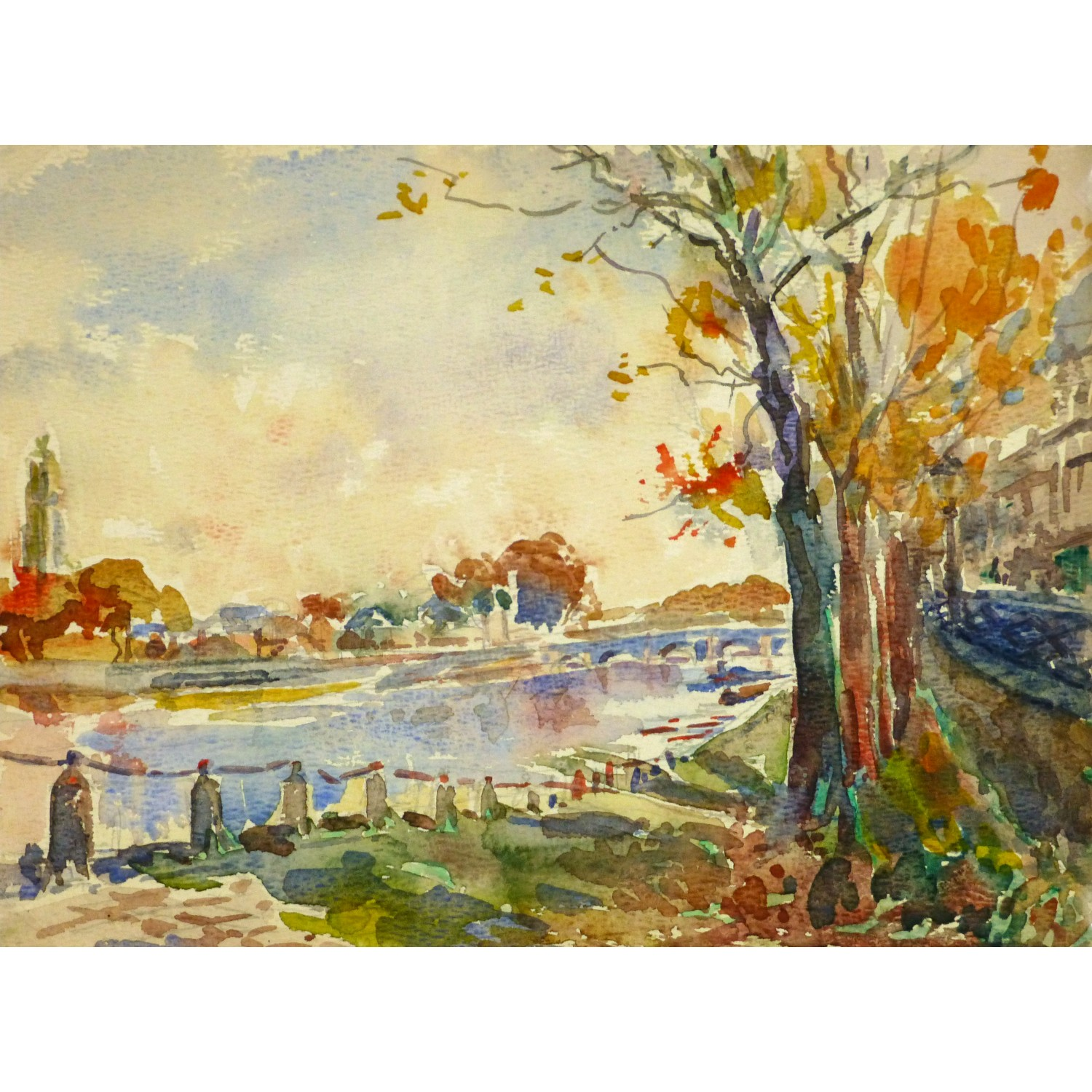 Watercolor - The River Seine Paris
