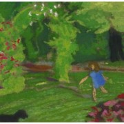 Original Oil Pastel and Gouache Garden Playtime 9194m