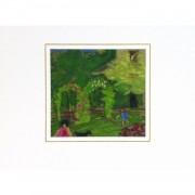 Original Oil Pastel and Gouache Garden Playtime - matted - 9194m