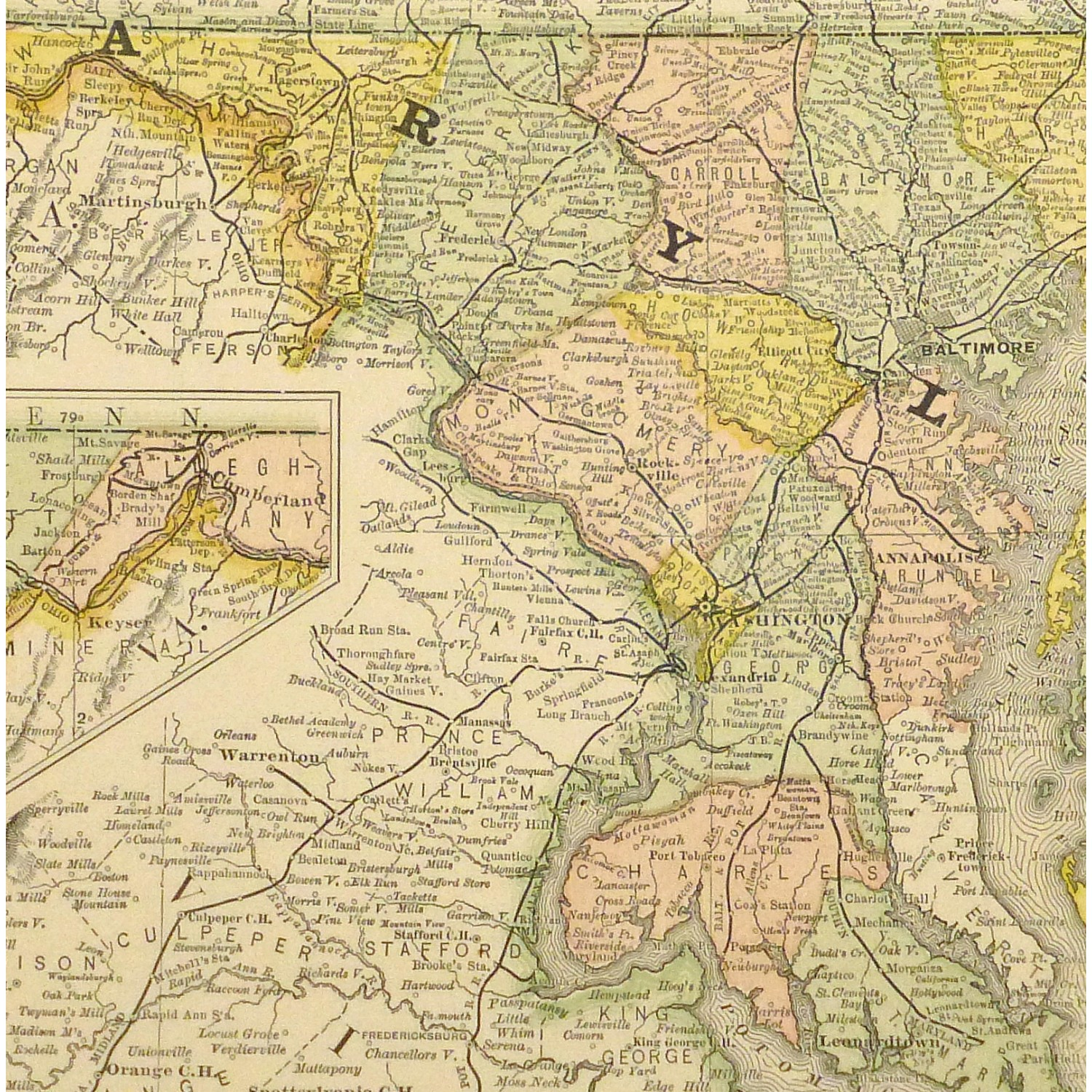 Original Antique Map of Maryland and Delaware - detail - 9227m