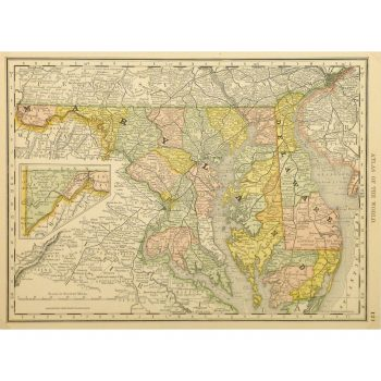 Original Antique Map of Maryland and Delaware 9227m