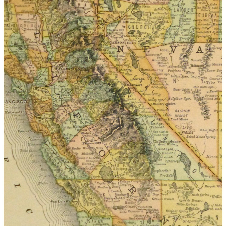 Original Antique Map California and Nevada - detail - 9228m