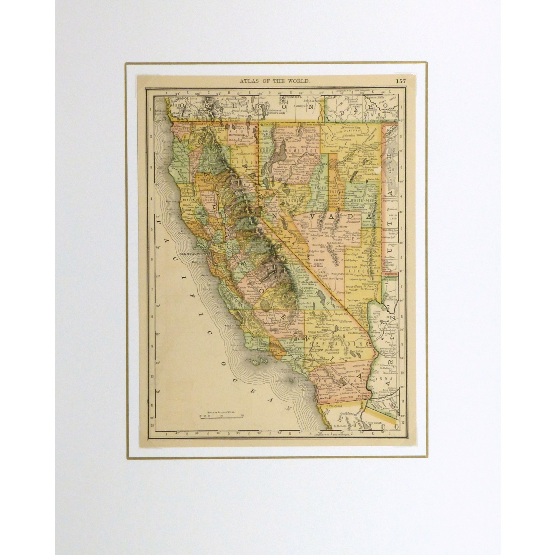 Original Antique Map California and Nevada - matted - 9228m