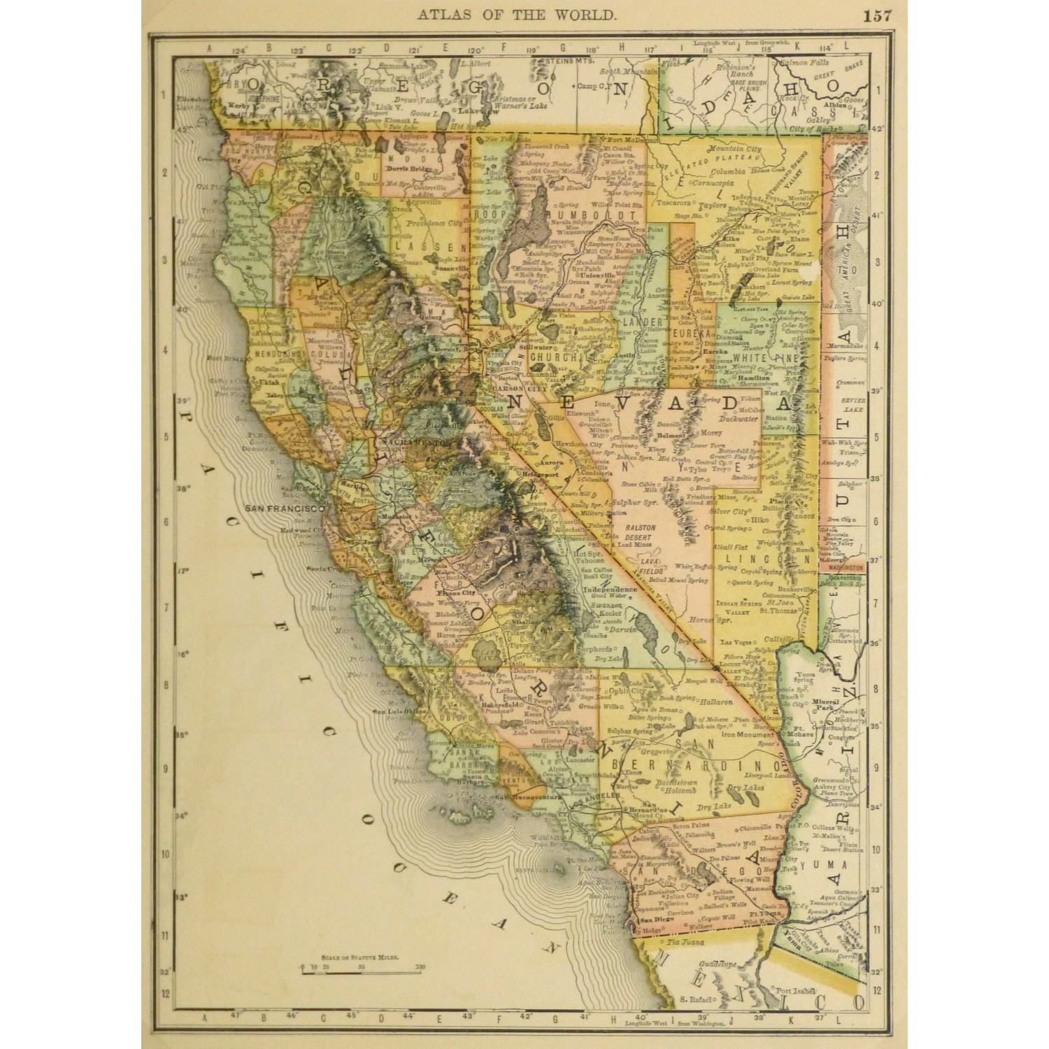 Original Antique Map California and Nevada 9228m