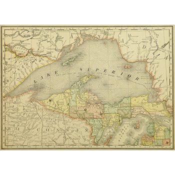 Original Antique Map Lake Superior 9229m