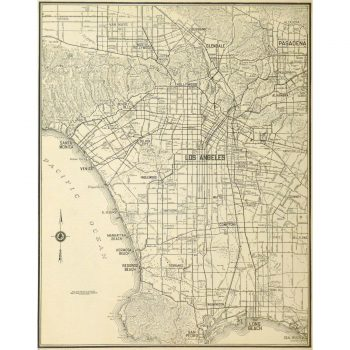 Original Vintage Map of Los Angeles 9230m