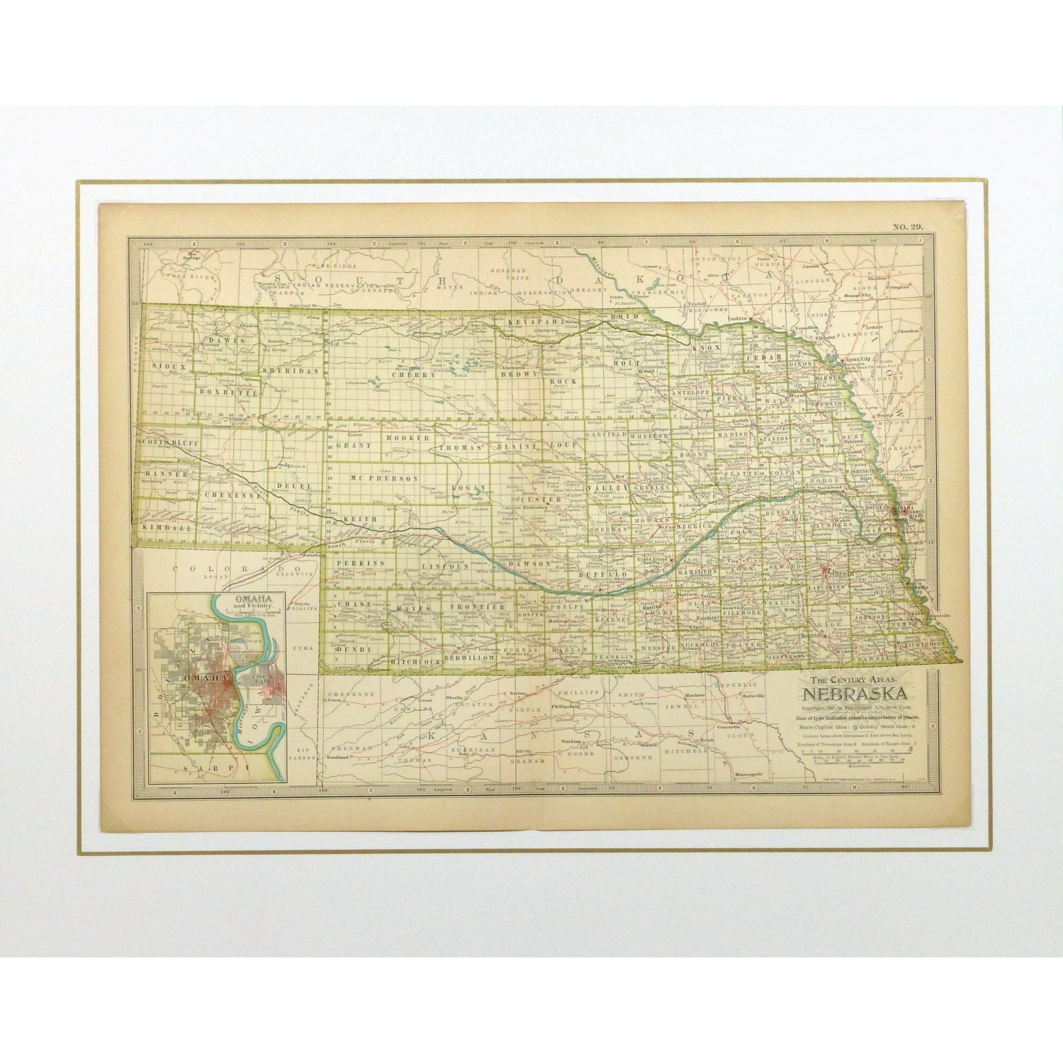 Original Antique Map Nebraska - matted - 9232m