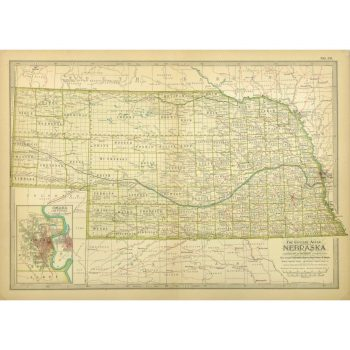 Original Antique Map Nebraska 9232m