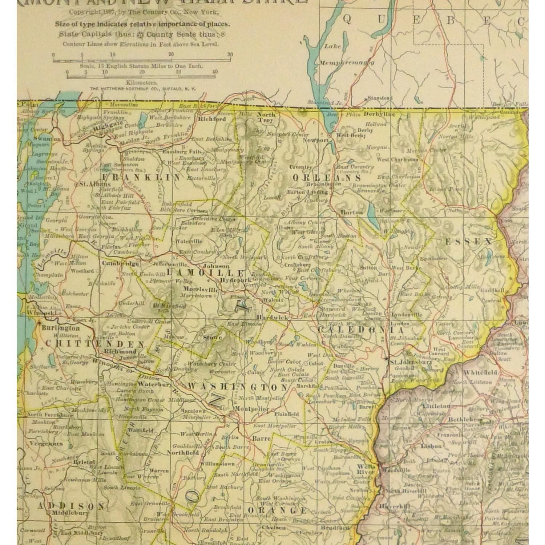 Map - Vermont & New Hampshire, 1897 - Original Art, Antique Maps & Prints