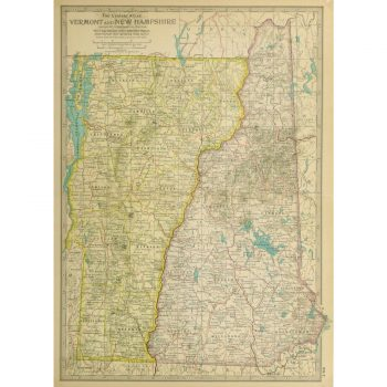 Antique Map Vermont and New Hampshire 9233m