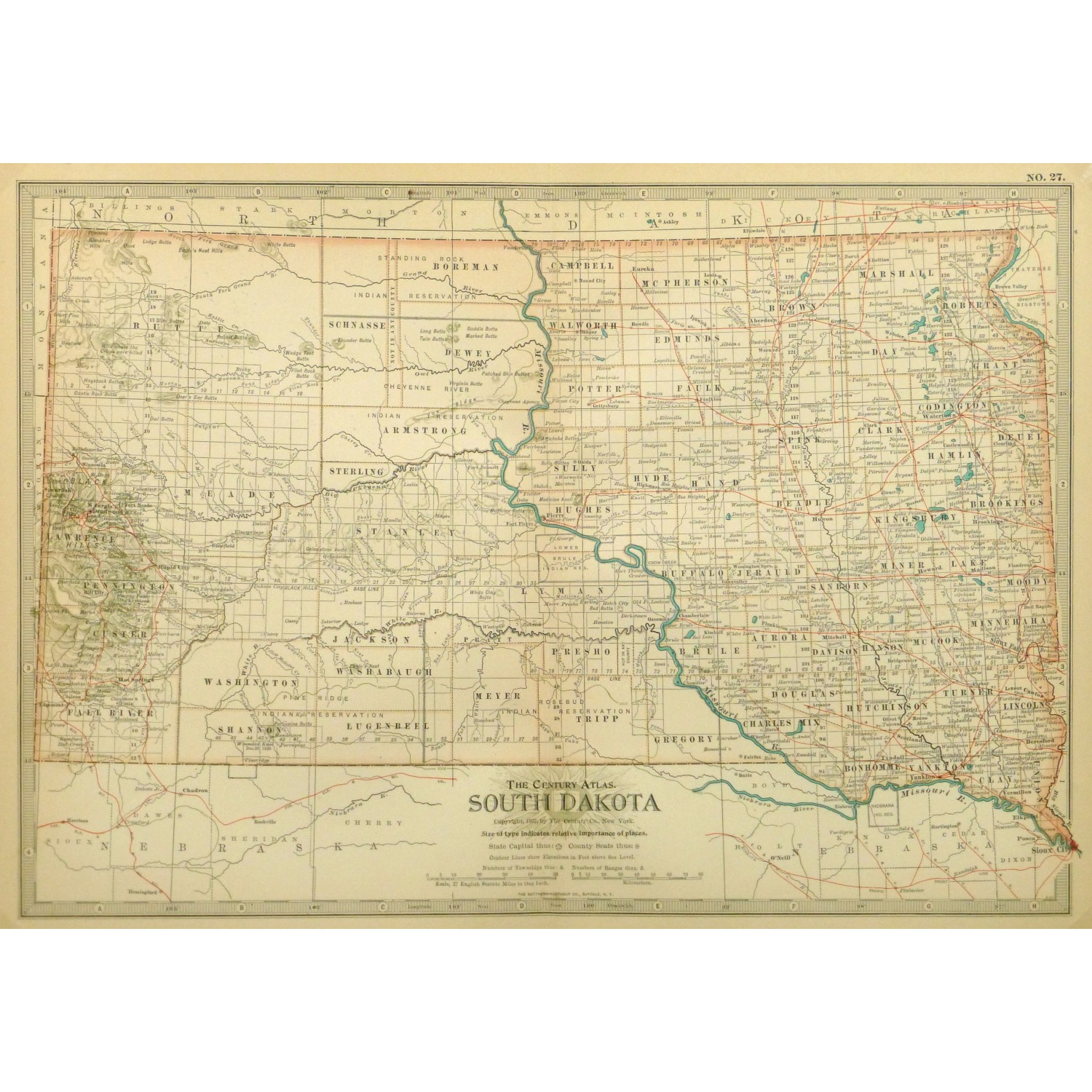 Original Antique Map South Dakota 9234m