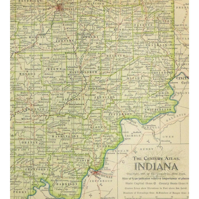 Original Antique Map Indiana - detail - 9235m