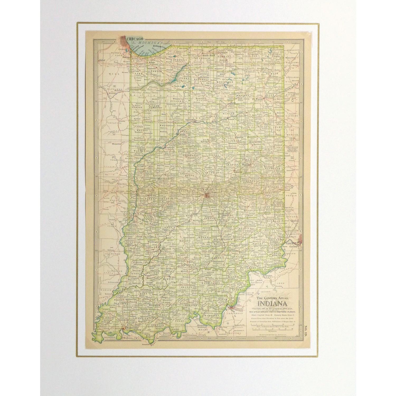 Original Antique Map Indiana - matted - 9235m