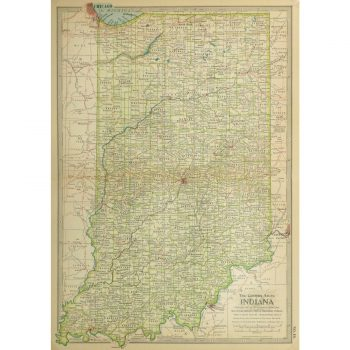 Original Antique Map Indiana 9235m