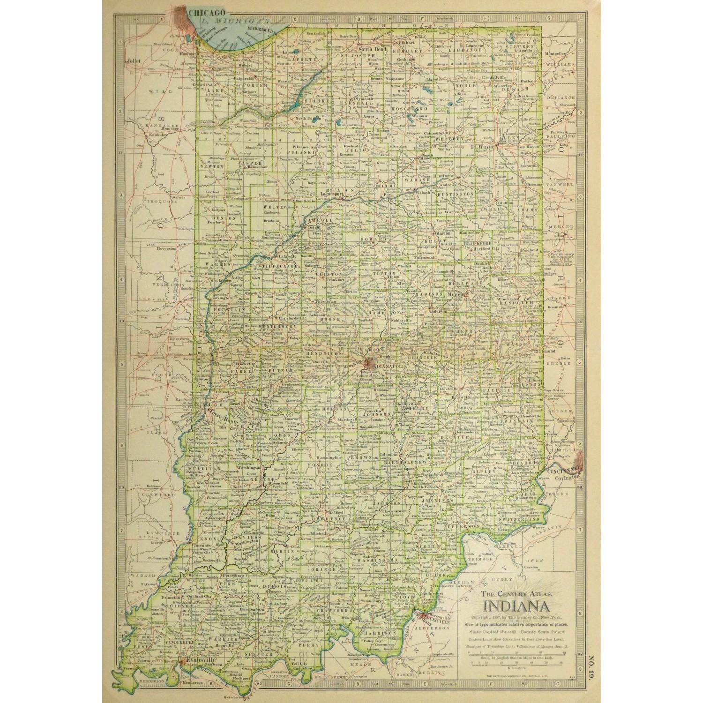 Original Antique Map Indiana 9235m