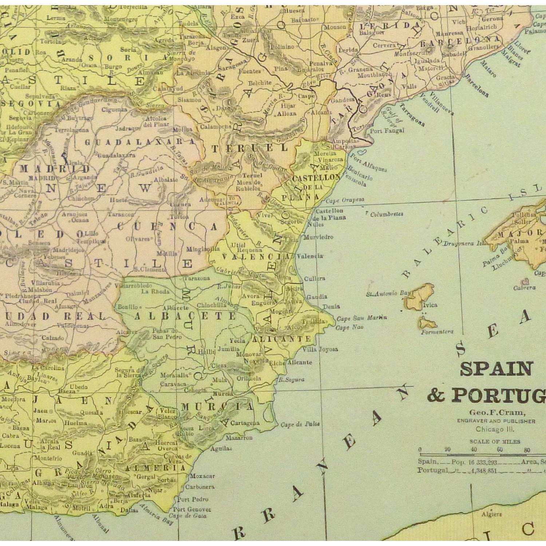 Map Spain Portugal Original Art Antique Maps Prints - Portugal map spain