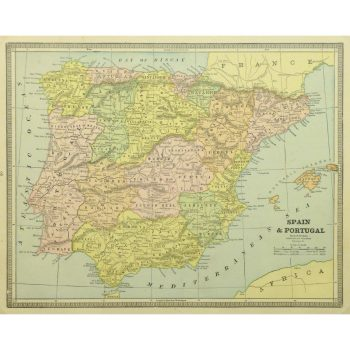 Antique Map Spain and Portugal 9238m