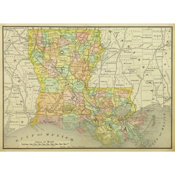 Original Antique Map of Louisiana 9239m