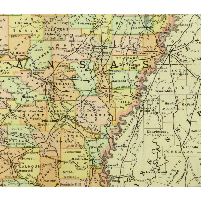 Original Antique Map Arkansas - detail - 9240m