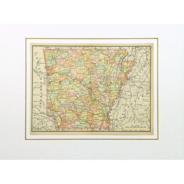 Original Antique Map Arkansas - matted - 9240m