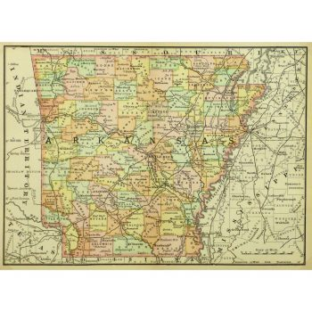 Original Antique Map Arkansas 9240m
