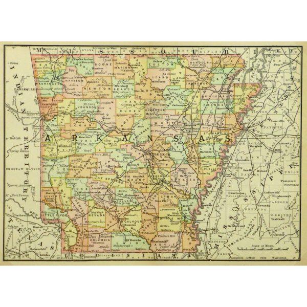 Original Antique Map Arkansas 9240m